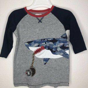 mudpie 4T/5T shark shirt camo zipper for ship in s